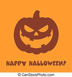 Halloween Pumpkin Cartoon Evil Face Character