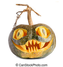 Halloween pumpkin carved isolated on white background