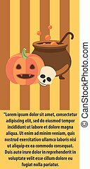 Halloween Pumpkin Cast-Iron Vat of Potion Poster - Halloween...