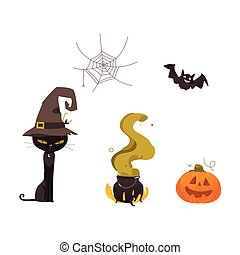Halloween pumpkin, cat, witch hat, web, cauldron