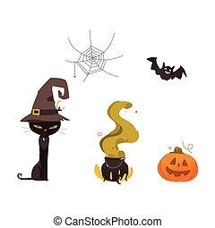 Halloween pumpkin, cat, witch hat, web, cauldron
