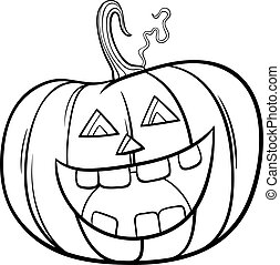 Halloween pumpkin character cartoon coloring book page - ...