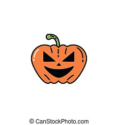 halloween pumpkin character flat icon
