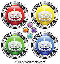Halloween pumpkin colorful button