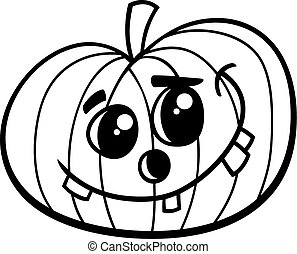 Black and White Cartoon Illustration of Halloween Pumpkin for Coloring Book