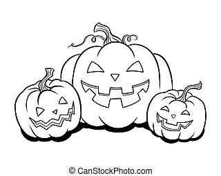 Halloween pumpkin coloring book vector