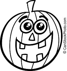halloween pumpkin coloring page - Black and White Cartoon...