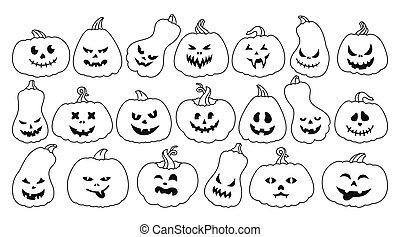 Halloween Pumpkin contour smiley face set vector