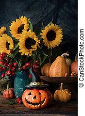 Halloween pumpkin decor with flowers