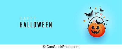 Happy Halloween trend horizontal banner with pumpkin decorations with striped candy and a bat on a blue background