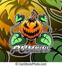 Halloween pumpkin esport mascot logo