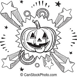 Halloween pumpkin excitement sketch