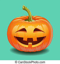 Halloween pumpkin face - crazy smile Jack o lantern - ...