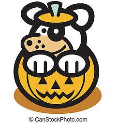 Halloween Pumpkin Face Cute Dog Art - Halloween pumpkin with...
