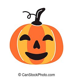 halloween pumpkin face flat style icon