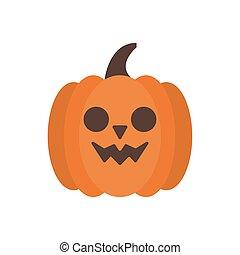 halloween pumpkin face flat style