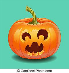 Halloween pumpkin face - funny surprised with big eyes smile Jack o lantern