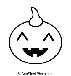 halloween pumpkin face line style