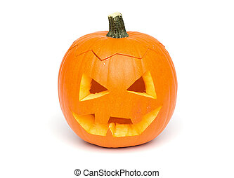 Halloween - Pumpkin Face on White Background