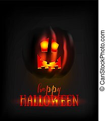 Halloween Pumpkin Face Scary Smile on Dark. Spooky Ghost Smiley Horror Character. Lantern with Glowing Eyes at Night. Halloween Banner or Invitation Card Template. Vector Illustration.