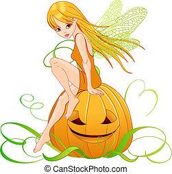 Vector illustration of pumpkin fairy sitting on pumpkin