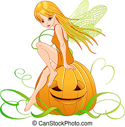 Halloween pumpkin fairy - Vector illustration of pumpkin...