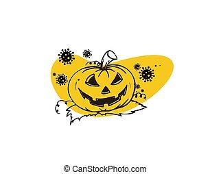 halloween pumpkin flat icon on white background in vector illustration