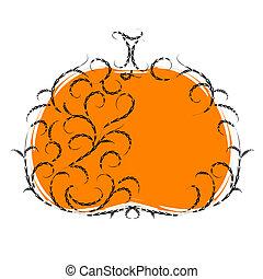 Halloween pumpkin, floral ornament. Vector illustration for your design