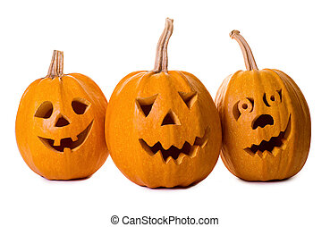 Halloween pumpkin, funny face isolated on white background