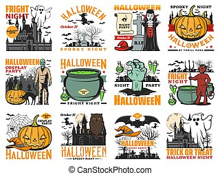 Halloween horror night pumpkin, ghost and zombie vector icons. Spooky witches, vampire and bats, moon, spider nets and owl, haunted house, black cats and devil demon, potion cauldron and graveyard