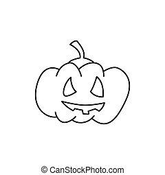 Halloween pumpkin hand drawn line icon