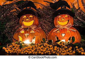 happy orange pumpkin and autumn decoration