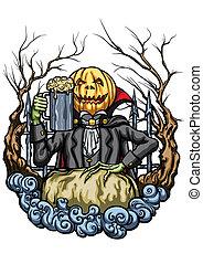 Halloween Pumpkin Head creature with a pint of beer -...