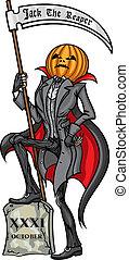 Halloween Pumpkin Head Jack Reaper - Illustration Pumpkin...