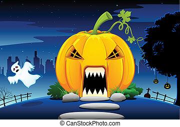 Halloween Pumpkin House - illustration of pumpkin house in...