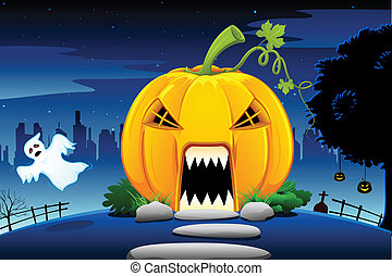 Halloween Pumpkin House - illustration of pumpkin house in...