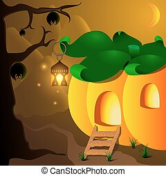 Halloween pumpkin house with lamp and bats on the tree