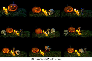 Halloween pumpkin, human skull, animal skull, goblet and candles glowing in the dark on a forest moss.