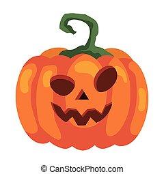 halloween pumpkin icon, in white background