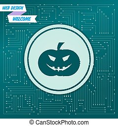halloween pumpkin icon on a green background, with arrows in different directions. It appears on the electronic board. Vector