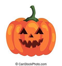 halloween pumpkin icon, on white background
