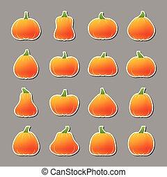 Halloween pumpkin icon sticker set