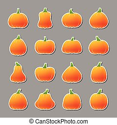 Halloween pumpkin icon sticker set