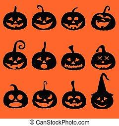 Halloween pumpkin icons, postcard
