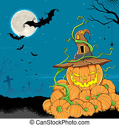 Halloween Pumpkin - illustration of jack-o-latern pumpkin in...