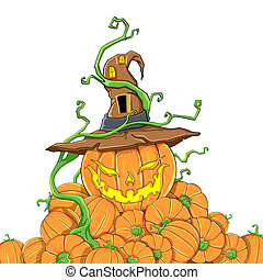 Halloween Pumpkin - illustration of pile of halloween...
