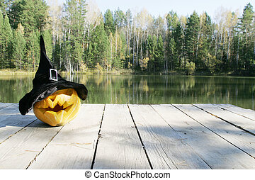 pumpkin in autumn leaves