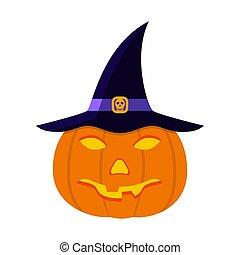Halloween Pumpkin in flat design