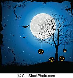 illustration of halloween night in graveyard with glowing pumpkin