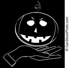 halloween pumpkin in hand, icon